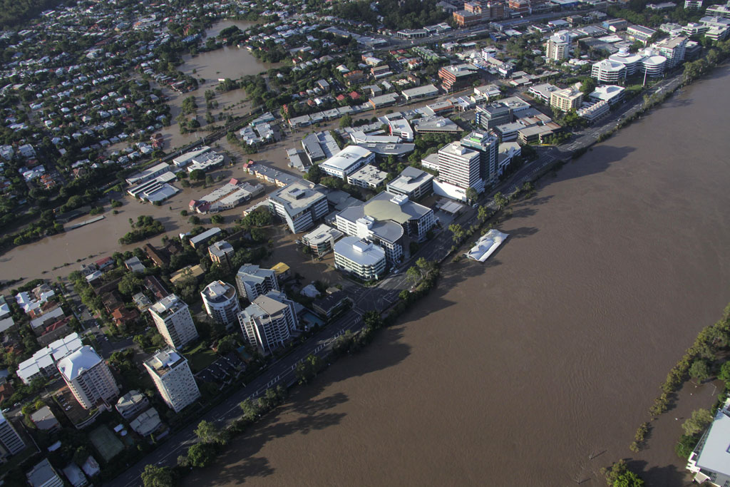 Aerial view of Brisbane River and inner western suburbs in flood in January 2011